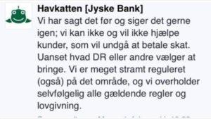 Jyske Bank ønsker ikke debat og spærre for kundes adgang til at ytrer sig på facesbook havkatten I jyske bank ønsker man ikke åbenhed
