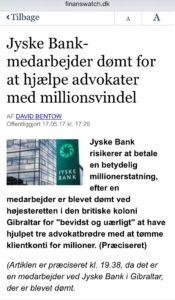 Jyske bank dømt i bedragerisag, i sag om snyd for millioner