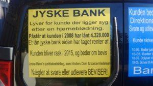 Jyske bank lyver for kunde, der ligger syg efter en hjerneblødning  - Og skriver du har lånt 4.328.000 kr. Og dem har jyske bank i 10 år hævet renter for - Men det er løgn  For jyske bank lyver